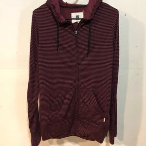 Burton maroon & black striped hoodie size L